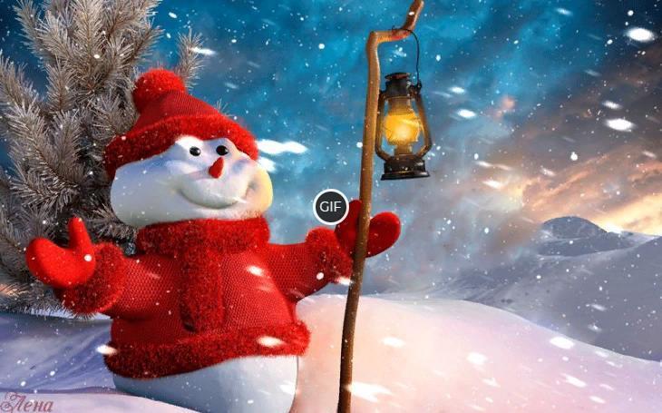 Праздничный снеговичок (гифка)