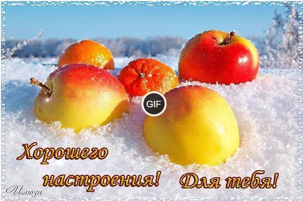 Гифки яблоки на снегу прикольные