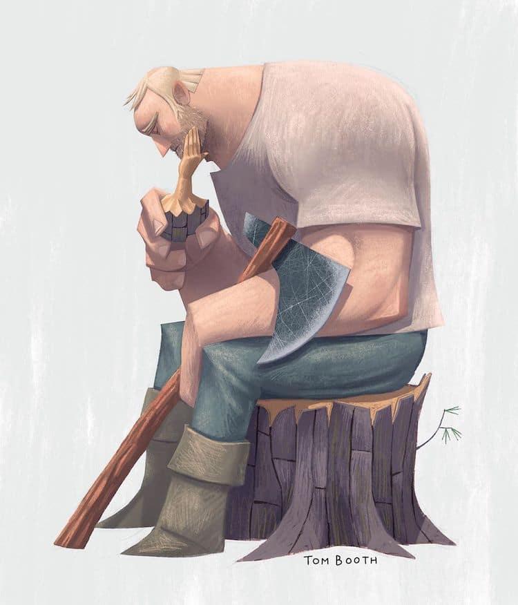 Красивые иллюстрации рассказывают историю столяра, горюющего о любви всей своей жизни