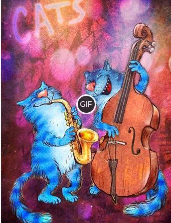 Синие коты белорусской художницы Рины Зенюк в гифках