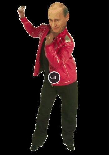 Гифка Путин танцует на прозрачном фоне