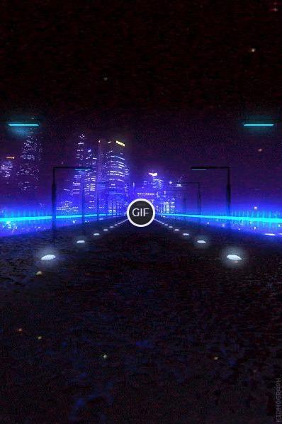 Гифка бесконечная неоновая дорога в ночном городе