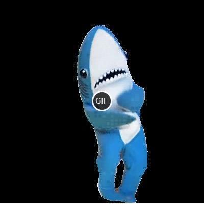 Смешная гифка акула танцует на прозрачном фоне