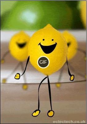 Смешная гифка с танцующим лимоном