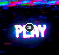 Гифка неоновая надпись Play