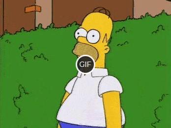 Гифка Гомер уходит в кусты