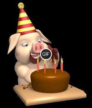 Смешная гифка на день рождения свинья ест торт