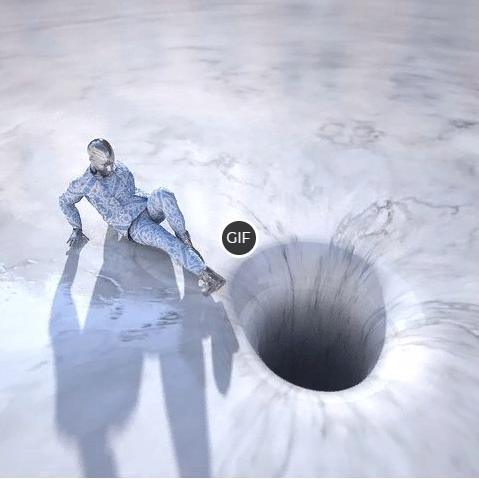 Гифка человека затягивает в дыру