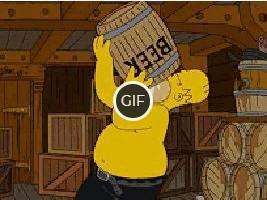 Гифка Гомер пьёт пиво