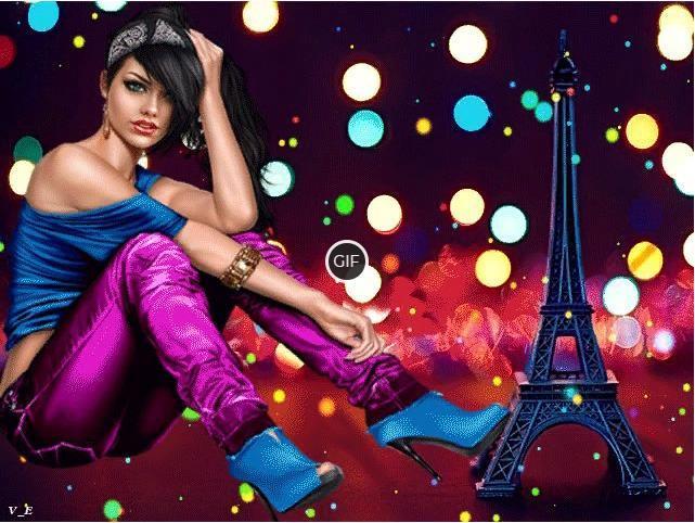 Красивая мерцающая картинка с девушкой в Париже