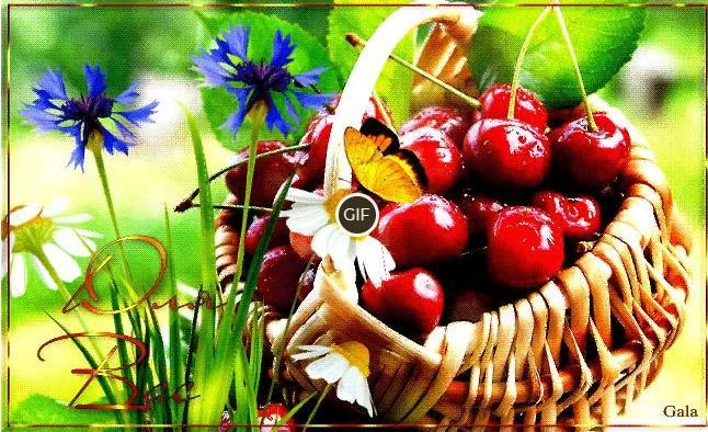 Гифка корзинка вишни для вас