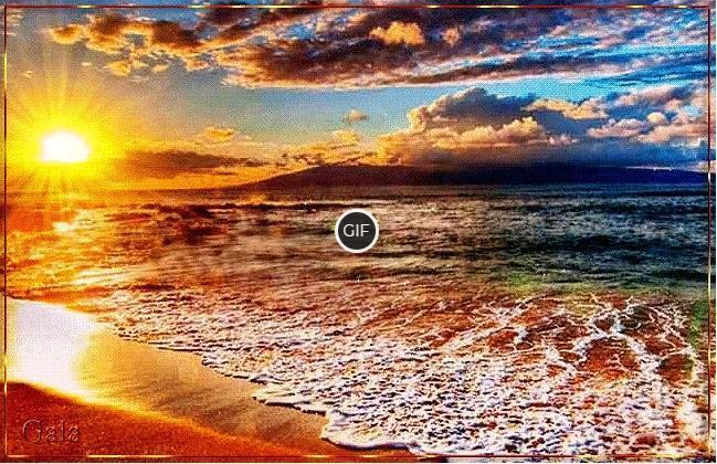 Гифка вечерний закат на фоне моря