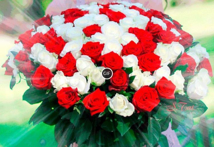 Гифка большой букет роз