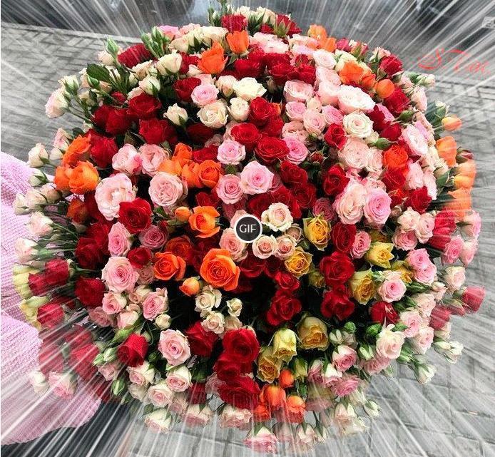 Гифка огромный букет роз
