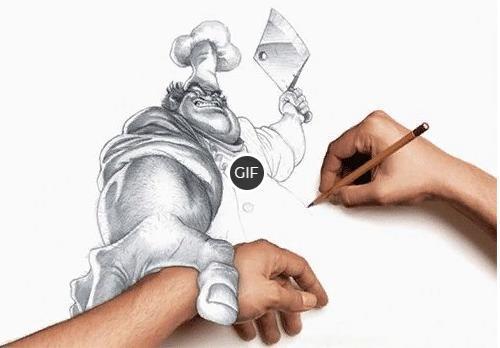 Анимированный карандашный рисунок с поваром