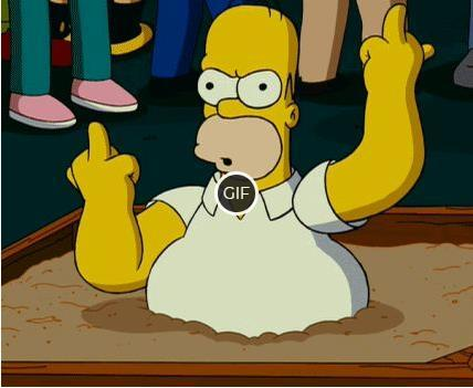 Мультяшная гифка Гомер показывает всем ФАК