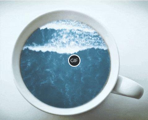 Красивая гифка море в стакане