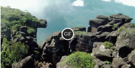 Красивая гифка полёт над водопадом