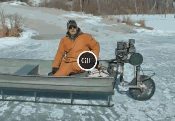 Гифка на лодке по льду