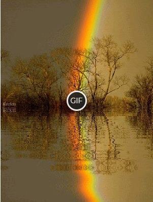 Гифка радуга в озере