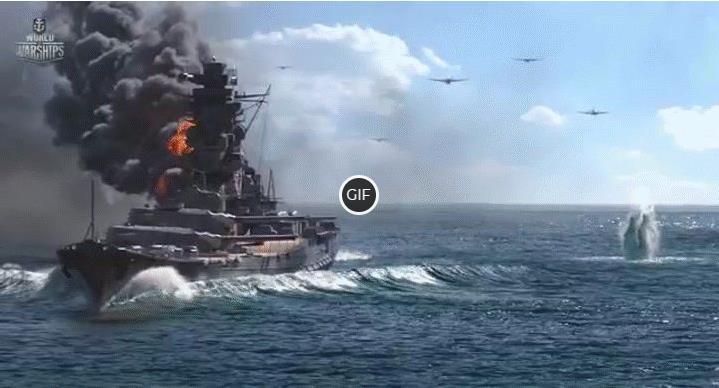 Крутая гифка атака и потопление боевого корабля