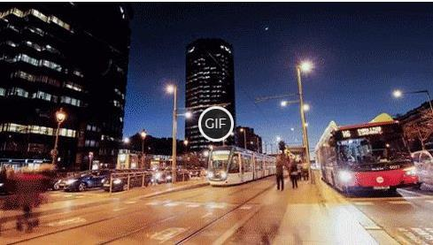 Гифка трафик ночного города