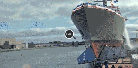 Прикольная гифка спуск корабля на воду
