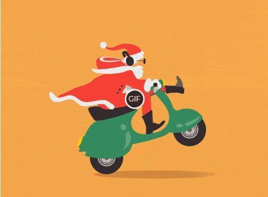 Прикольная анимация с Санта Клаусом на мотоцикле