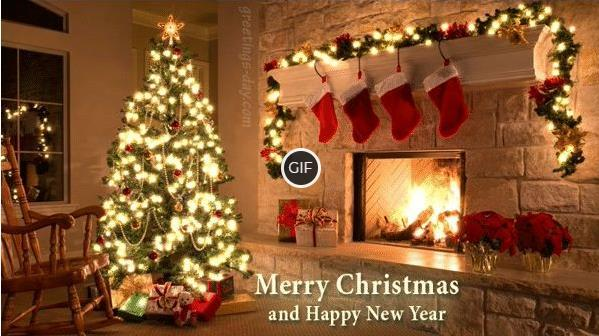 Гифка счастливого Рождества и Нового года