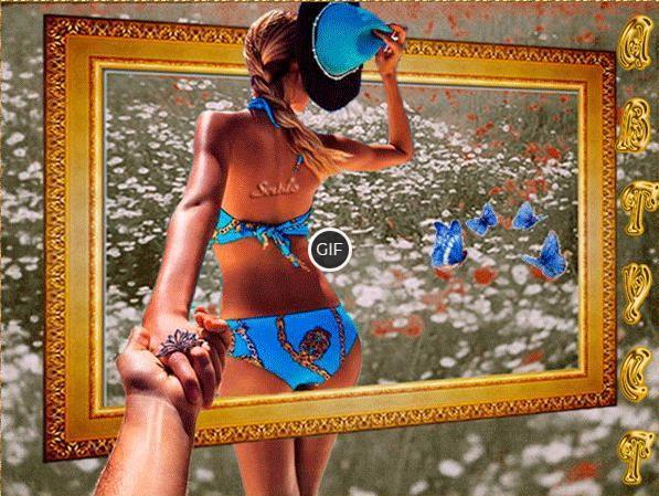 Летняя гифка девушка с картины