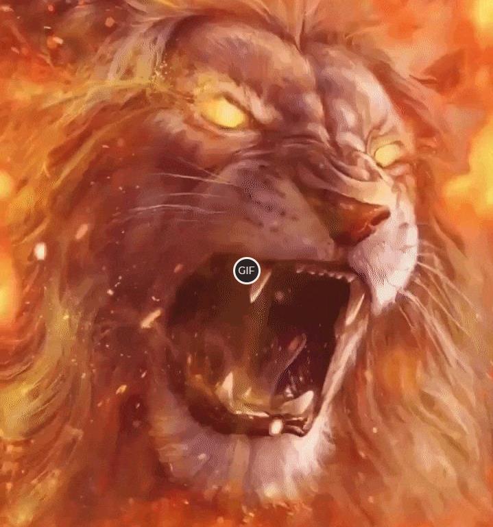 Крутая анимация с огненным львом