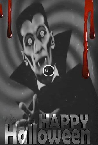 Классная гиф картинка Happy Halloween