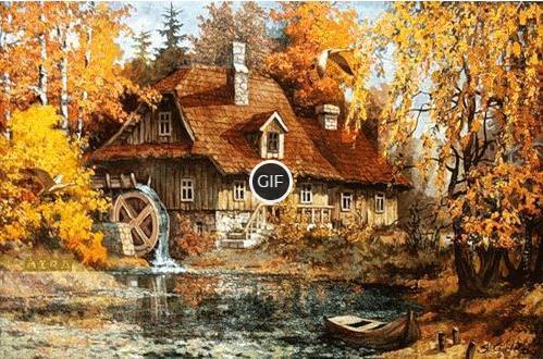 Гифка живописная природа Осени