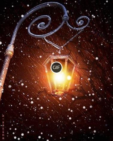 Одинокий фонарь и идущий снег гифки