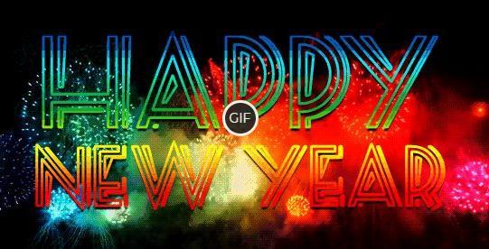 Гиф картинка Happy New Year с салютом
