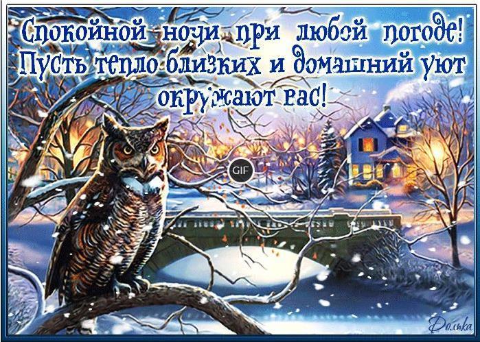 Анимационные картинки спокойной ночи зимние