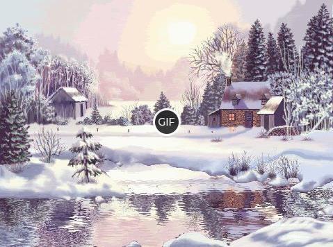 Гифки с зимним пейзажем