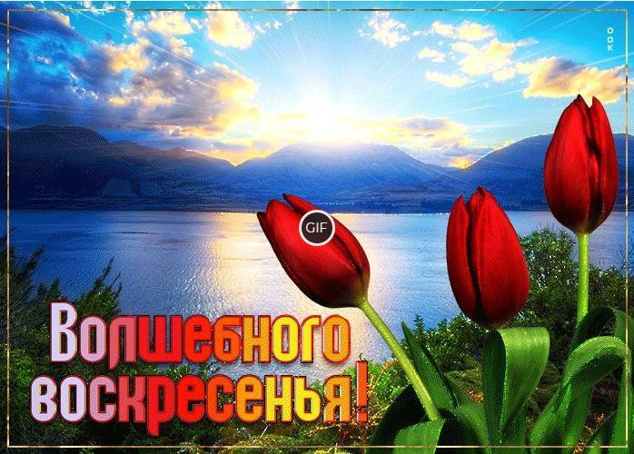 Гифки с пожеланием доброго Воскресного утра
