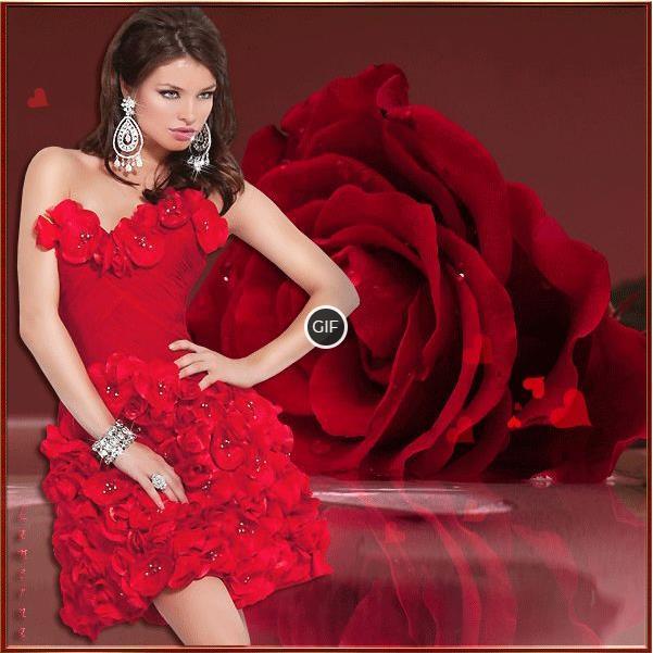 Гифки девушки в красивых платьях