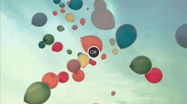 Гифки Воздушные шарики летят в небо